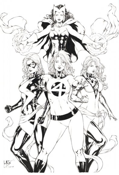 Invisible Woman, Ms Marvel, Phoenix and Scarlet Witch