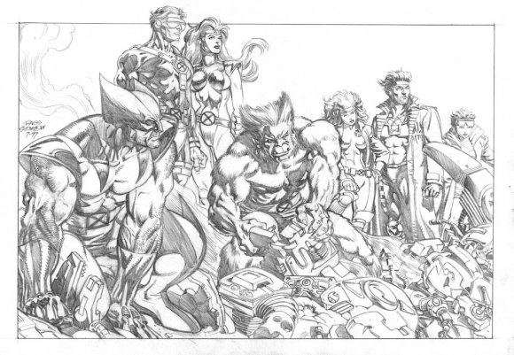 Jean Grey, Cyclops, Wolverine, Beast, Rogue, Gambit and Jubilee